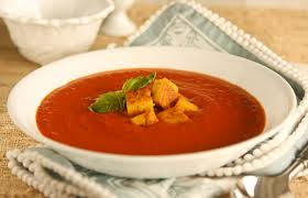Tomato Soup with Black Pepper Croutons